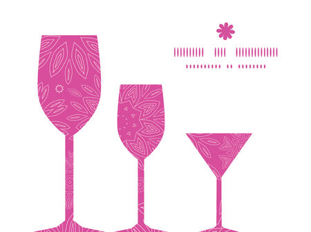 Vector pink abstract flowers texture three wine glasses silhouettes pattern frame