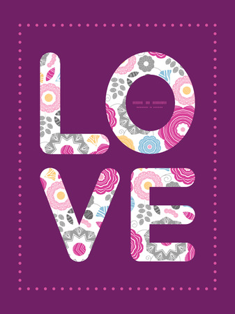 Vector vibrant floral scaterred love text frame pattern invitation greeting card template Illustration