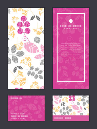 invitations card: Vector abstract pink, yellow and gray leaves vertical frame pattern invitation greeting, RSVP and thank you cards set Illustration
