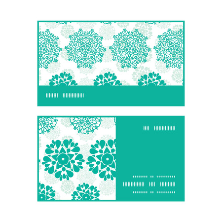 Vector abstract green decorative circles stars striped horizontal stripe frame pattern business cards set