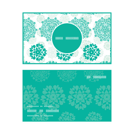 wheal: Vector abstract green decorative circles stars striped vertical round frame pattern business cards set Illustration