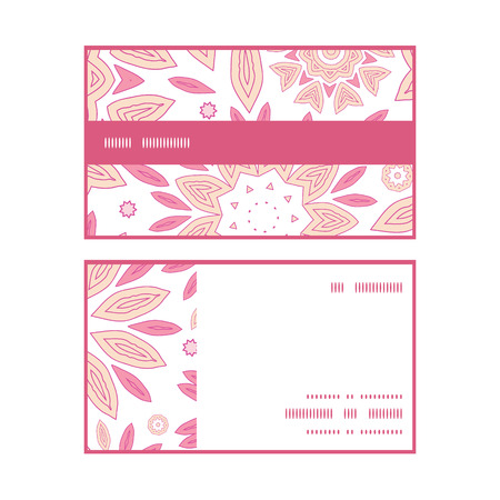 flowers horizontal: Vector pink abstract flowers horizontal stripe frame pattern business cards set