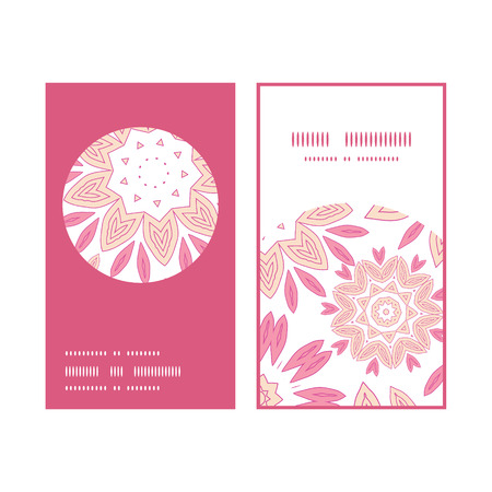 Vector pink abstract flowers vertical round frame pattern business cards set