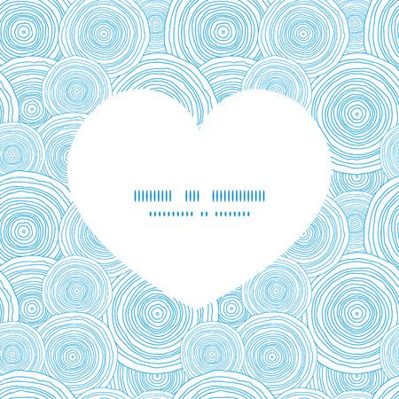 Vector doodle cirkel water textuur hart silhouet patroon frame grafisch ontwerp