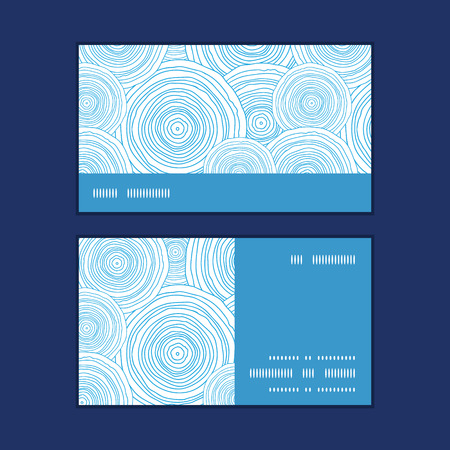 ripple effect: Vector doodle circle water texture horizontal stripe frame pattern business cards set graphic design