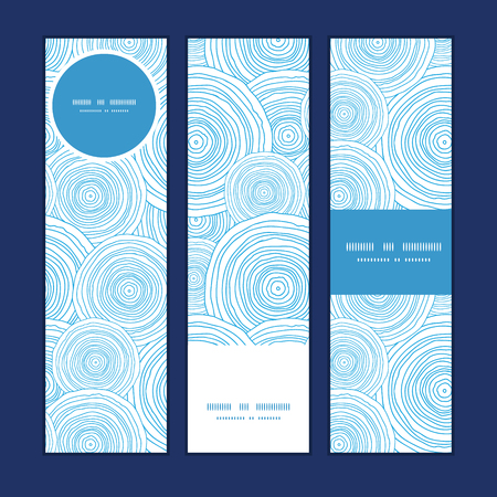 ripple effect: Vector doodle circle water texture vertical banners set pattern background graphic design