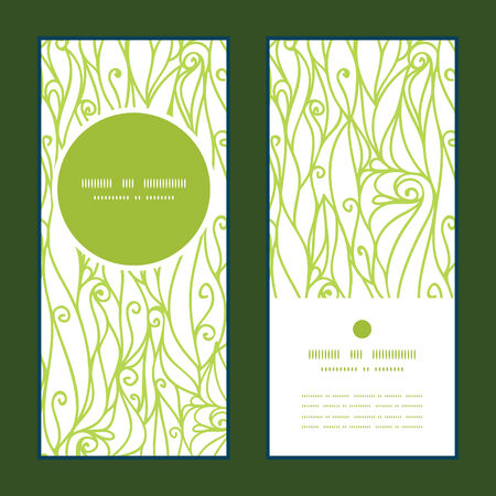 green swirl: Vector abstract swirls texture vertical round frame pattern invitation greeting cards set graphic design