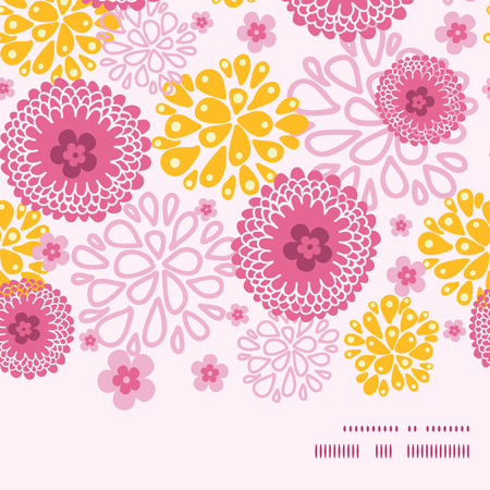 flowers horizontal: Vector pink field flowers horizontal frame seamless pattern background graphic design Illustration
