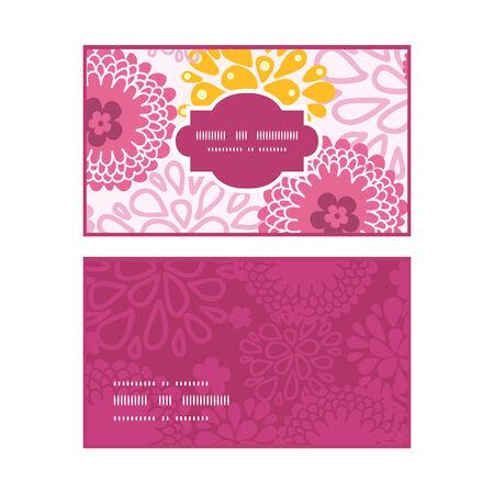 flowers horizontal: Vector pink field flowers horizontal frame pattern business cards set graphic design Illustration