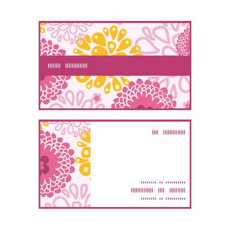 flowers horizontal: Vector pink field flowers horizontal stripe frame pattern business cards set graphic design Illustration