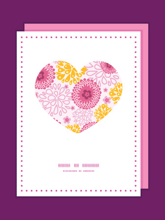 Vector pink field flowers heart symbol frame pattern invitation greeting card template graphic design Vector