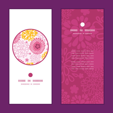 Vector pink field flowers vertical round frame pattern invitation greeting cards set graphic design Ilustrace