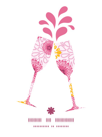 toasting wine: Vector pink field flowers toasting wine glasses silhouettes pattern frame graphic design
