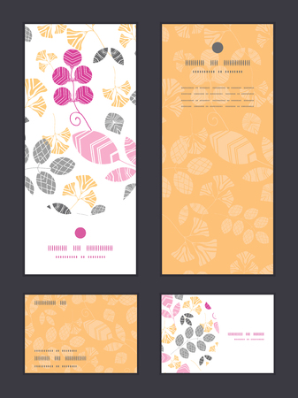 rsvp: Vector abstract pink, yellow and gray leaves vertical frame pattern invitation greeting, RSVP and thank you cards set graphic design