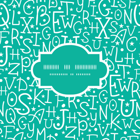 Vector white on green alphabet letters frame seamless pattern background graphic design Vector