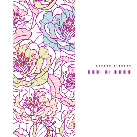 Vector colorful line art flowers vertical frame seamless pattern background graphic design