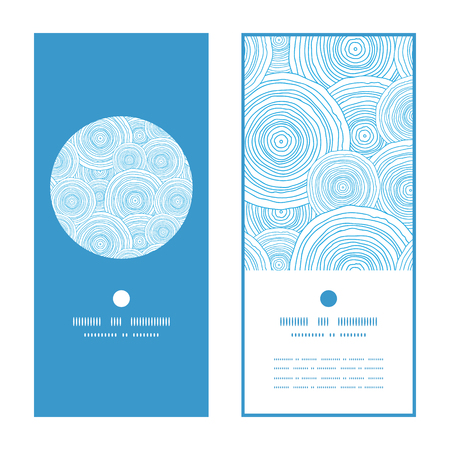 Vector doodle circle water texture vertical round frame pattern invitation greeting cards set