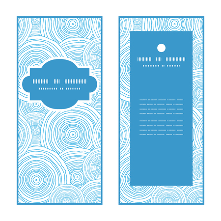 layout template: Vector doodle circle water texture vertical frame pattern invitation greeting cards set