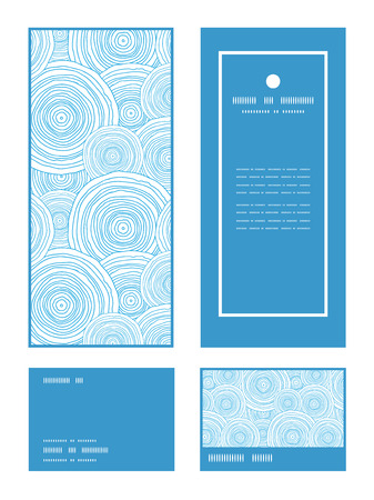 rsvp: Vector doodle circle water texture vertical frame pattern invitation greeting, RSVP and thank you cards set