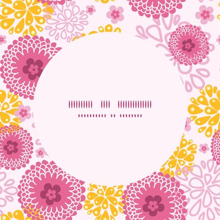 Vector pink field flowers frame seamless pattern background 向量圖像