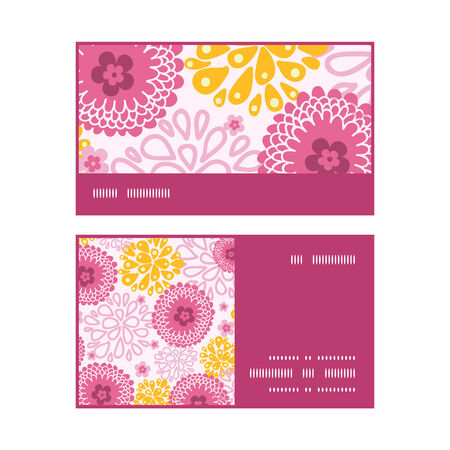 Vector pink field flowers horizontal stripe frame pattern business cards set