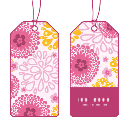 Vector pink field flowers vertical stripe frame pattern tags set