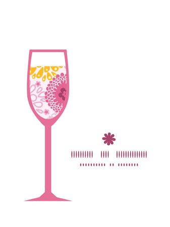 champ de fleurs: Vecteur fleurs des champs roses verre de vin cadre de mod�le silhouette