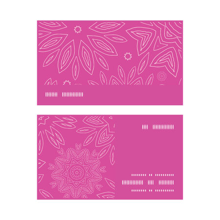 Vector pink abstract flowers texture horizontal stripe frame pattern business cards set