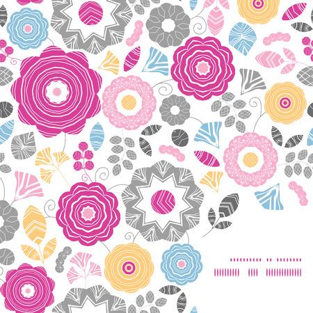 textile image: Vector vibrant floral scaterred frame corner pattern background