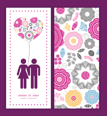 Vector vibrant floral scaterred couple in love silhouettes frame pattern invitation greeting card template