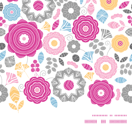 textile image: Vector vibrant floral scaterred horizontal frame seamless pattern background