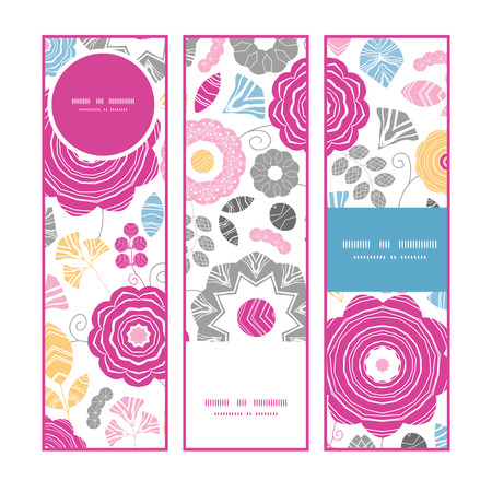 textile image: Vector vibrant floral scaterred vertical banners set pattern background