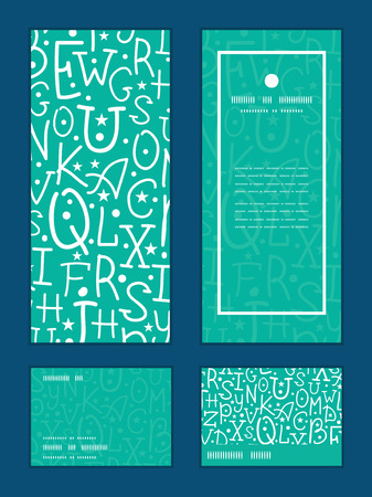 rsvp: Vector white on green alphabet letters vertical frame pattern invitation greeting, RSVP and thank you cards set