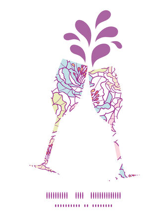 toasting wine: Vector colorful line art flowers toasting wine glasses silhouettes pattern frame Illustration