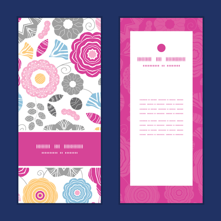 shower curtain: Vector vibrant floral scaterred vertical frame pattern invitation greeting cards set