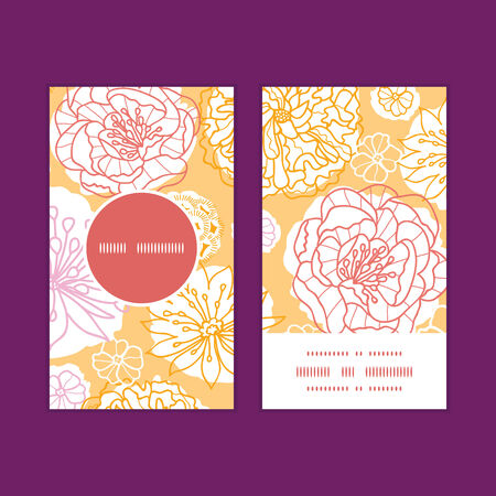 Vector warm day flowers vertical round frame pattern business cards set Illustration