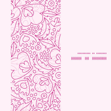 Vector pink flowers lineart vertical frame seamless pattern background Vector