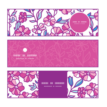 flowers horizontal: Vector vibrant field flowers horizontal banners set pattern background graphic design