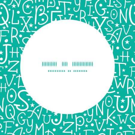 boceto: Blanco del vector en verde las letras del alfabeto marco de fondo de fisuras