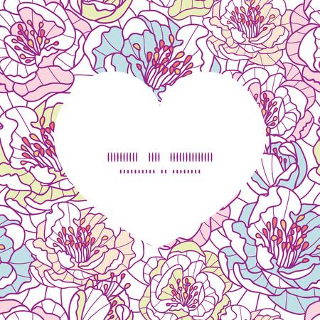 streckbilder: Vector colorful line art flowers heart silhouette pattern frame