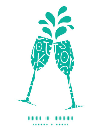 toasting wine: Vector white on green alphabet letters toasting wine glasses silhouettes pattern frame