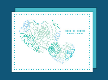Vector blue line art flowers heart symbol frame pattern invitation greeting card template Vector