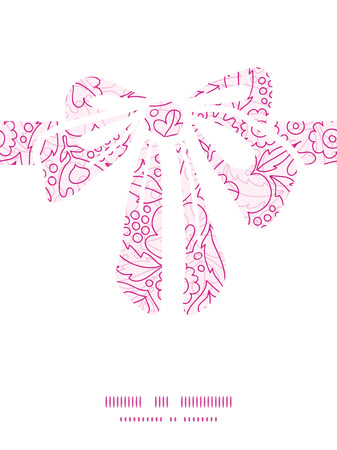 Vector pink flowers lineart gift bow silhouette pattern frame Vector