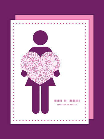 Vector pink flowers lineart woman in love silhouette frame pattern invitation greeting card template
