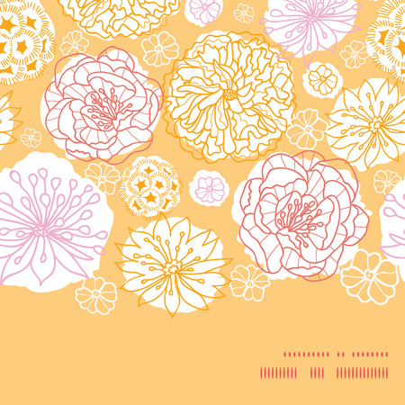 Vector warm day flowers horizontal frame seamless pattern background