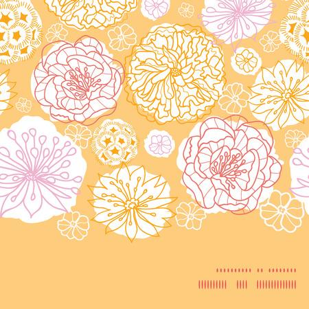flowers horizontal: Vector warm day flowers horizontal frame seamless pattern background