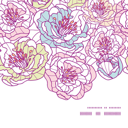 Vector colorful line art flowers horizontal frame seamless pattern background