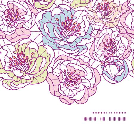 flowers horizontal: Vector colorful line art flowers horizontal frame seamless pattern background