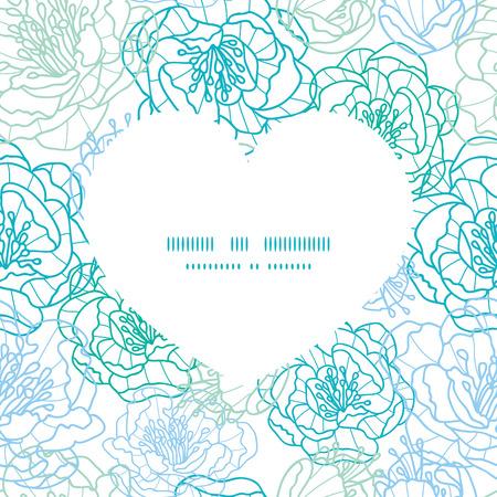 streckbilder: Vector blue line art flowers heart silhouette pattern frame Illustration