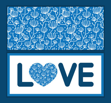 Vector blue white lineart plants love text frame pattern invitation greeting card template Vector